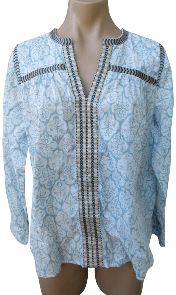 6fdde434506a5f J.Crew Cotton Embroidery Ethnic Peasant Shirt Size 6 Top Blue/white Image 0  ...