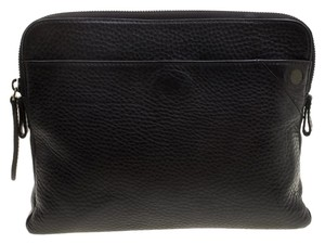 Burberry Leather Canvas Pouch Black Clutch