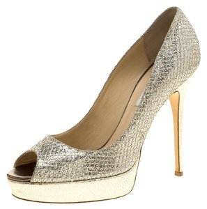 Jimmy Choo Platform Peep Toe Silver Pumps