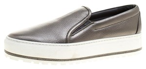 Brunello Cucinelli Metallic Leather Dark Grey Flats