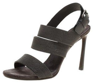 Brunello Cucinelli Studded Leather Strappy Grey Sandals