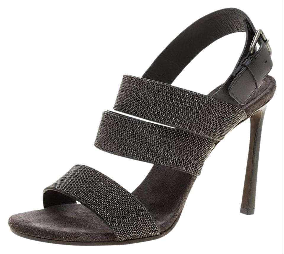 fb2c0cb2ecf6 Brunello Cucinelli Grey Studded Leather Monile Strappy Sandals Size ...