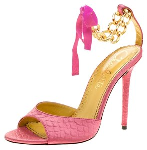 Charlotte Olympia Satin Chain Ankle Strap Leather Pink Sandals