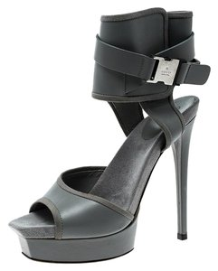 Gucci Leather Ankle Grey Sandals