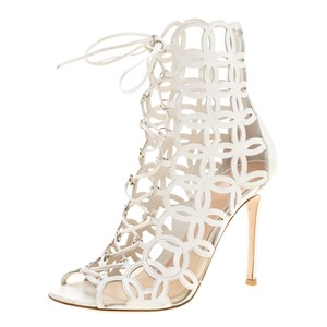 Gianvito Rossi Leather Lace Peep Toe Mesh White Sandals