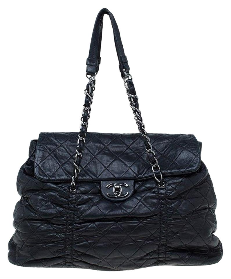 9457bbeb6f5f Chanel Quilted Sharpei Black Leather Shoulder Bag - Tradesy