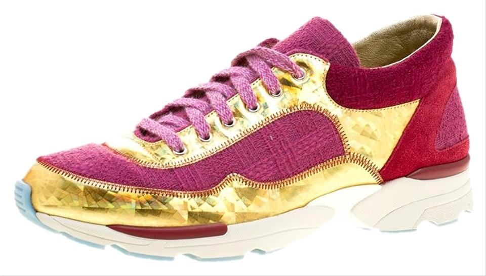 d613678edf8 Chanel Pink Pink/Gold Tweed and Leather Lace Up Sneakers Platforms ...