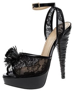 Charlotte Olympia Lace Patent Leather Leather Mesh Platform Black Sandals