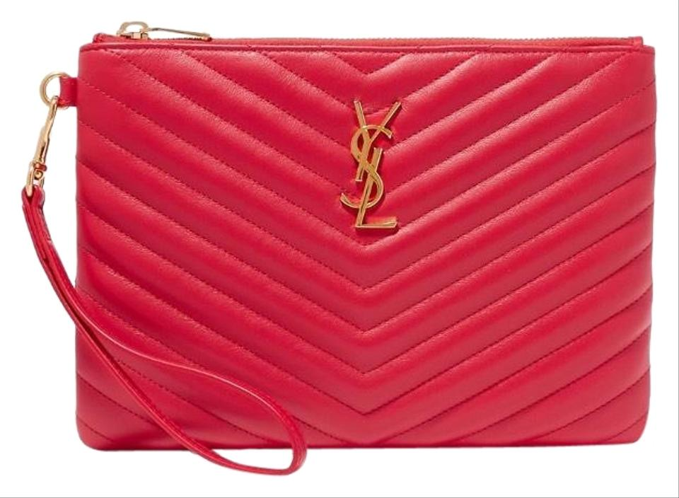 61afb630c6 Saint Laurent Monogram Quilted Leather Pouch Wristlet Clutch - Tradesy