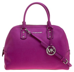 Michael Kors Leather Nylon Satchel in Pink
