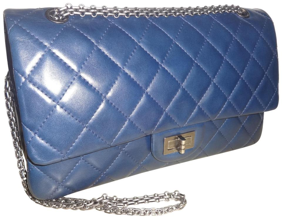 c0154f916cd5 Chanel 2.55 Reissue Classic Flap Classic Jumbo Double Navy Lambskin Leather  Shoulder Bag