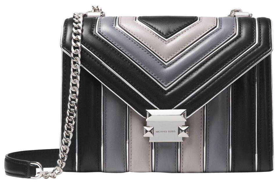 0982102ce6f2dd Michael Kors Whitney Large Quilted Tri-color Convertible Black Combo ...