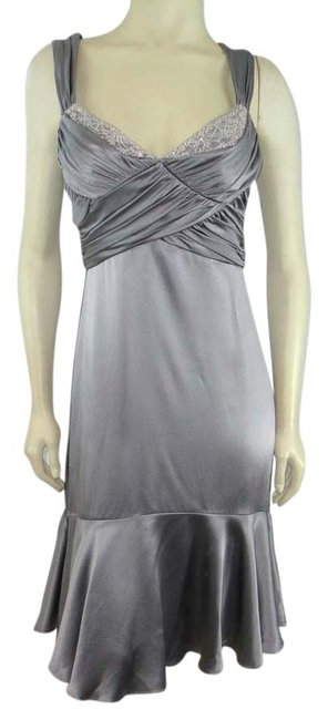 Item - Silver Gray Silk Ruched Beaded Holiday Evening Long Formal Dress Size 10 (M)