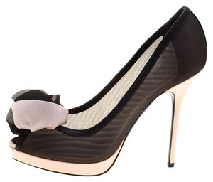 Dior Satin Chiffon Peep Toe Platform Black Pumps