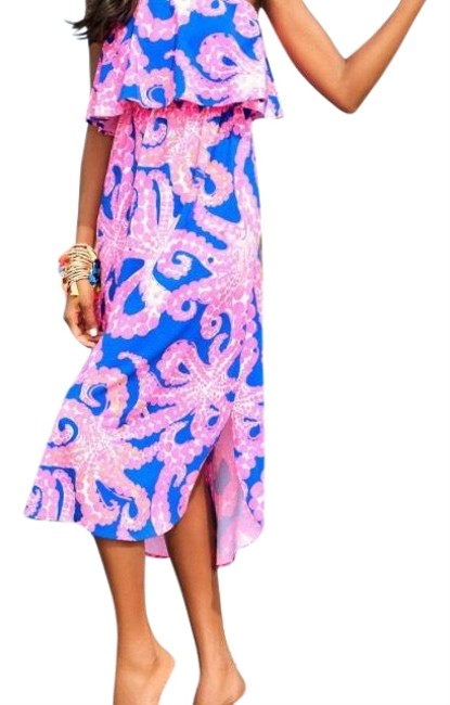Item - Blue Pink 29525 Mid-length Casual Maxi Dress Size 4 (S)