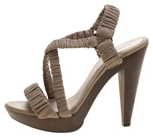 Burberry Leather Crisscross Strap Beige Sandals