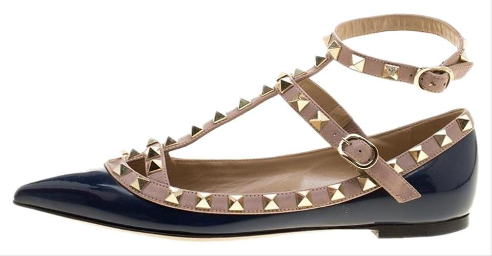 d4c6bae6250 Valentino Blue Patent Leather T Strap Rockstud Pointed Toe Ballet Flats