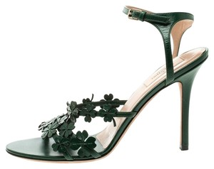 Valentino Leather Ankle Strap Green Sandals