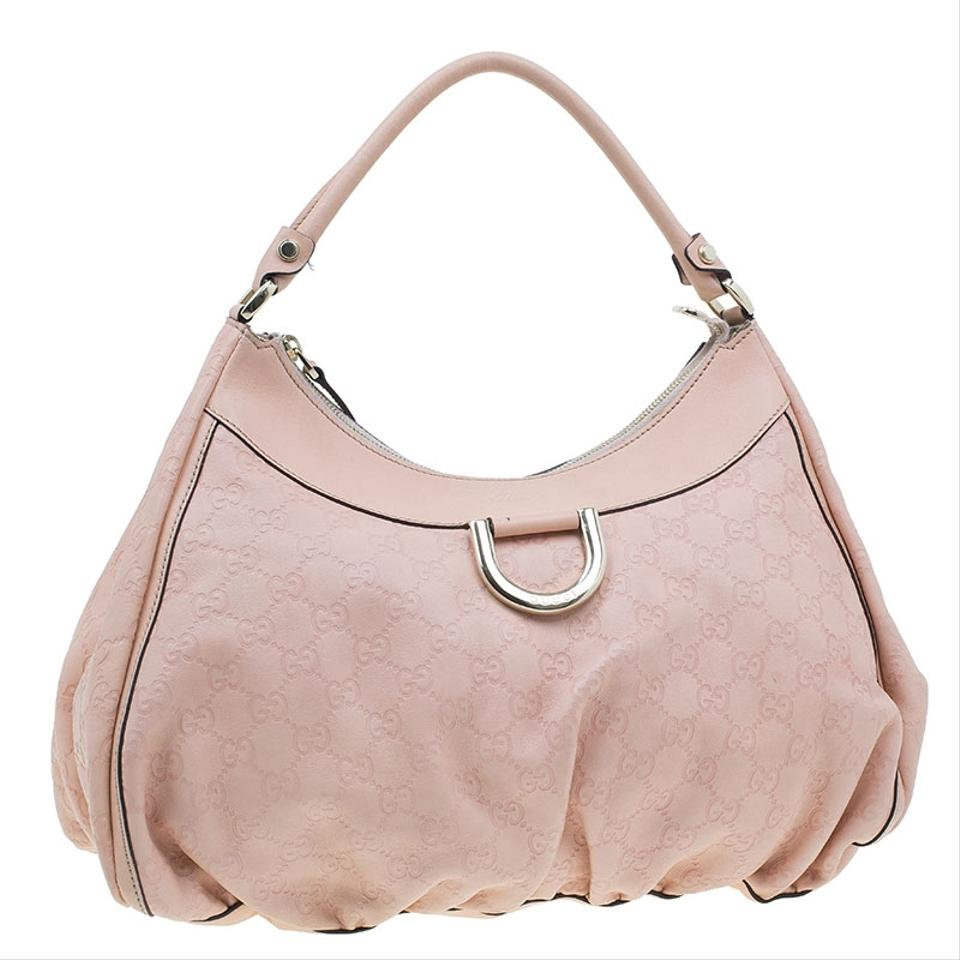 acb08b56a7abe1 Gucci Guccissima Ring Large Pink Leather Hobo Bag - Tradesy