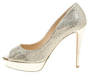 Jimmy Choo Peep Toe Platform Metallic Pumps