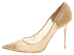 Jimmy Choo Lace Pointed Toe Beige Pumps