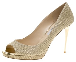 Jimmy Choo Peep Toe Gold Metallic Pumps