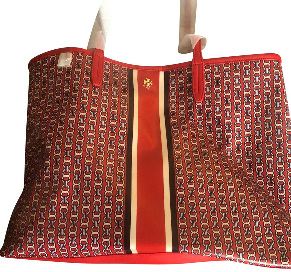 42653327f Tory Burch Gemini Link Red Coated Canvas Tote - Tradesy