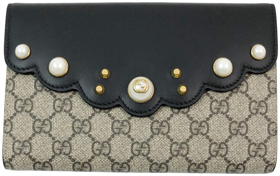 34ff027bc69bf Gucci Peony Leather Pearl Studded Beige Black Gg Supreme Canvas ...