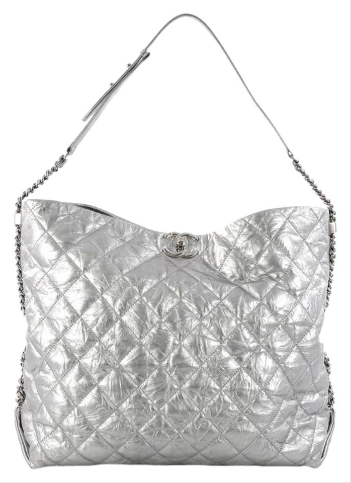 98f4918eea33 Chanel Hobo Big Bang Quilted Metallic Aged Large Silver Calfskin ...