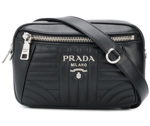Prada Silver Hardware Chain Belted Quilted Monogram Cross Body Bag
