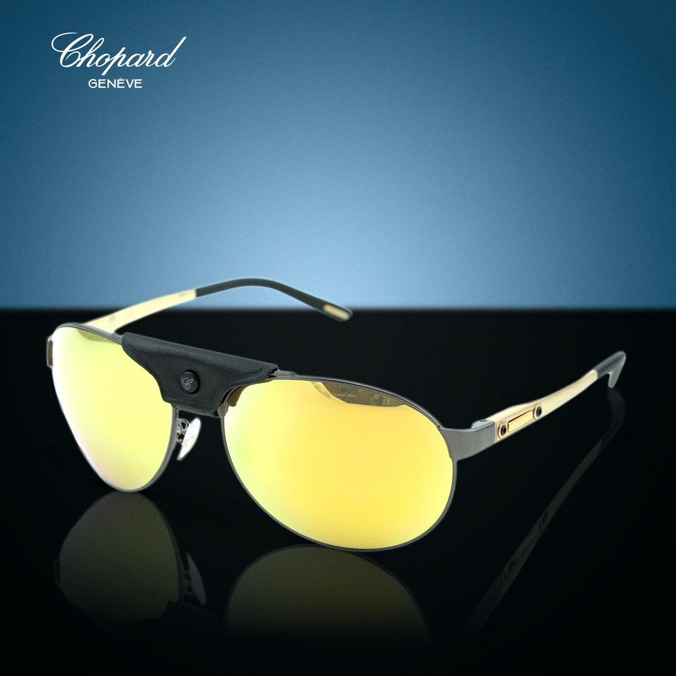 e448c52e846 Chopard New SCH-932 Leather Piece Mirrored Polarized Aviator Sunglasses.  12345678910