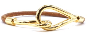 Hermès Jumbo Gold single tour hook leather Cuff Bracelet Bangle