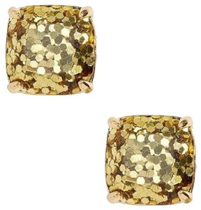 Kate Spade KATE SPADE 12K Gold Plated Square Metallic Gold Glitter Stud Earrings