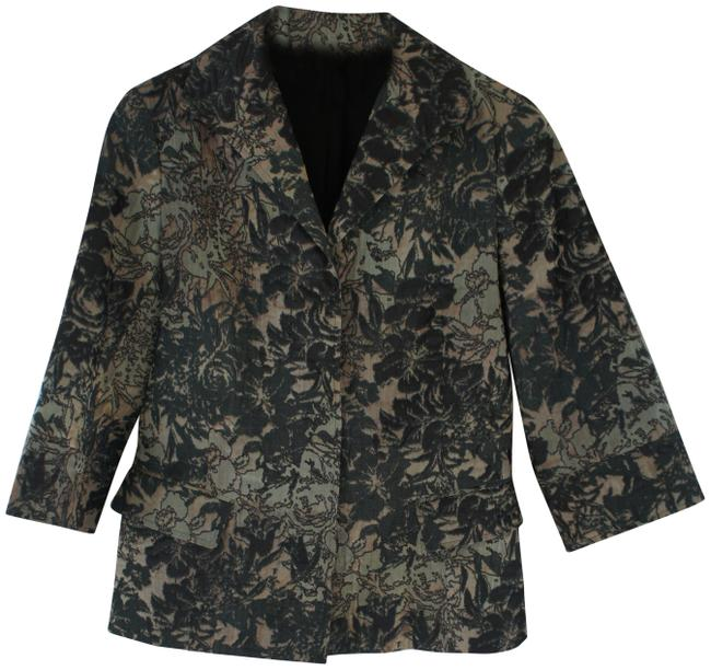 Item - Green Gray and Jacquard Floral Print Blazer Size 6 (S)