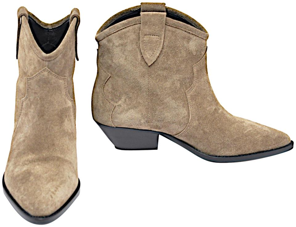 46a7151d7840d Isabel Marant Taupe Greenish 'santiag' Suede Western Ankle Boots/Booties