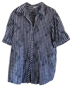 Allison Daley Button Down Shirt blue and white
