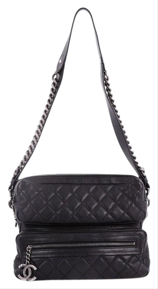 8a1e8417877728 Chanel Casual Rock Airlines Quilted Goatskin Medium Black Leather ...