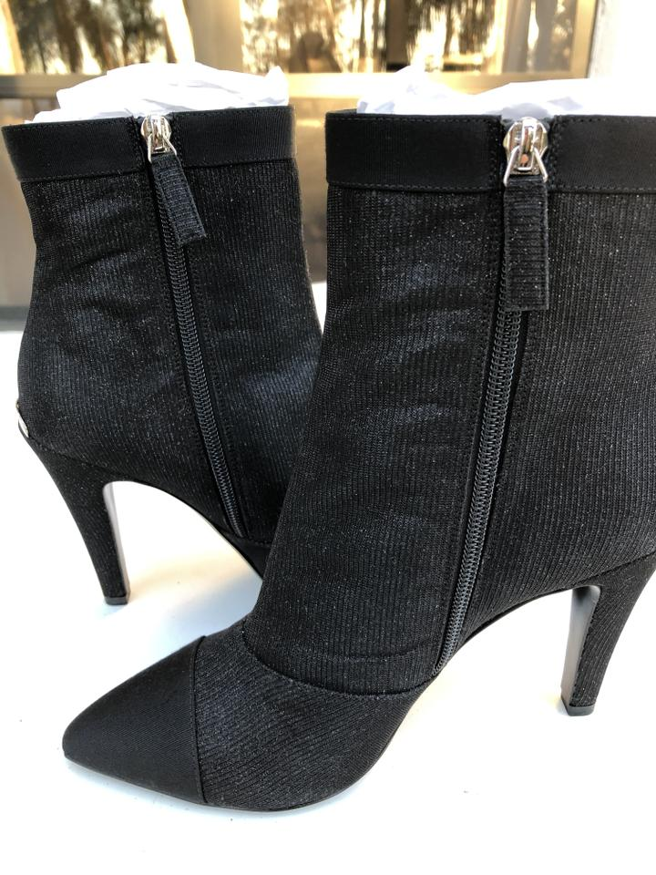 9f9540e9719f Chanel Black Fantasy Glitter Sparkle Fabric Ankle Heels Boots Booties Size  EU 38 (Approx. US 8) Regular (M