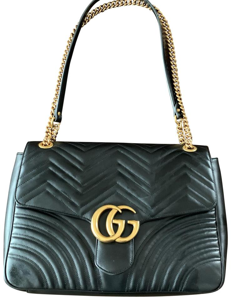 2f3eb769b80c Gucci Marmont Large Chevron Quilted Black Calfskin Leather Shoulder ...