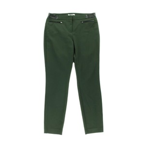 DKNY Faux Leather Straight Pants Green