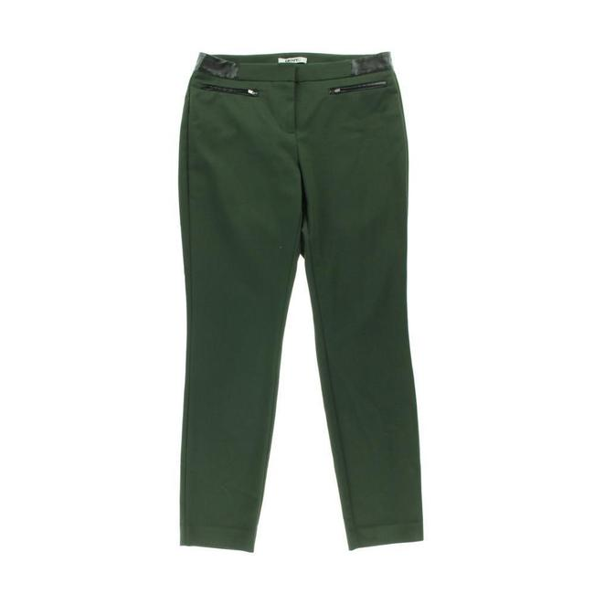 DKNY Faux Leather Straight Pants Green Image 2