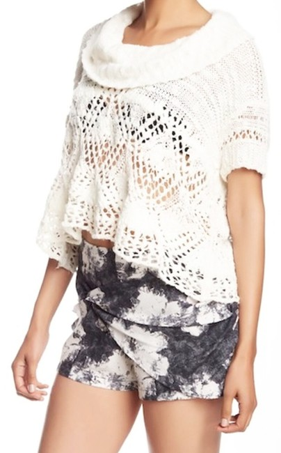 Free People Openwork Crochet Drapey Cowl Neck Cropped Sheer Unlined Top Cream Image 1
