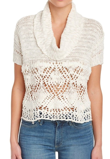 Free People Openwork Crochet Drapey Cowl Neck Cropped Sheer Unlined Top Cream Image 2