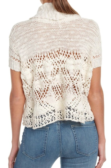 Free People Openwork Crochet Drapey Cowl Neck Cropped Sheer Unlined Top Cream Image 3
