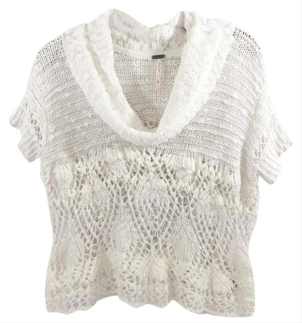 Free People Openwork Crochet Drapey Cowl Neck Cropped Sheer Unlined Top Cream Image 4