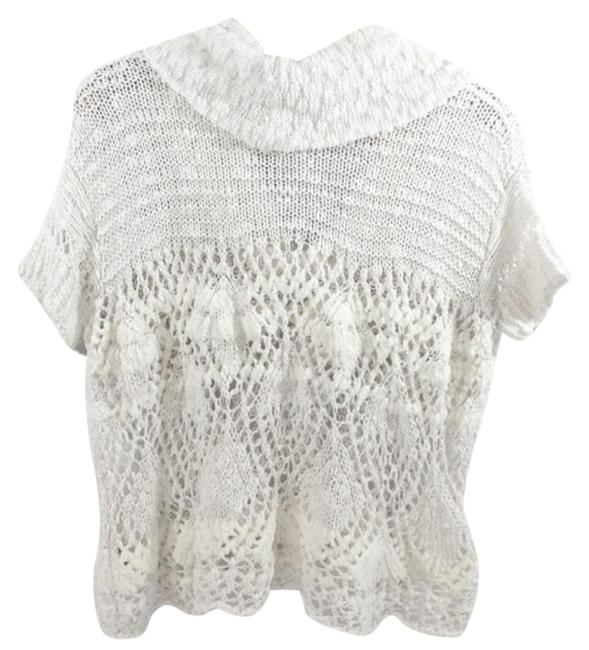 Free People Openwork Crochet Drapey Cowl Neck Cropped Sheer Unlined Top Cream Image 5