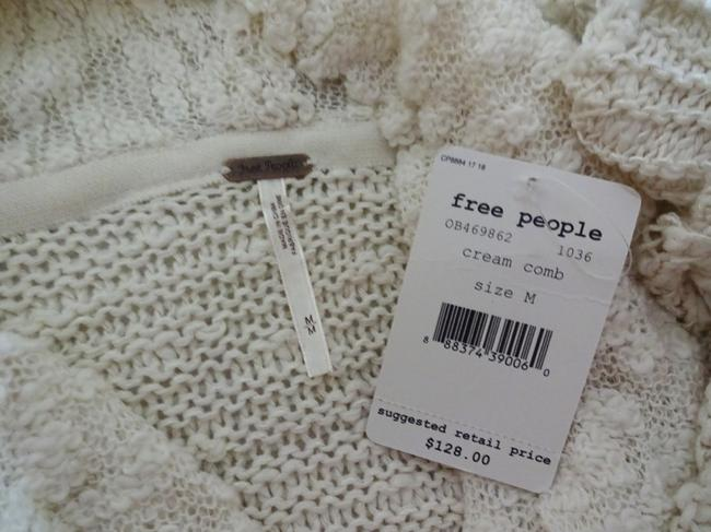 Free People Openwork Crochet Drapey Cowl Neck Cropped Sheer Unlined Top Cream Image 6