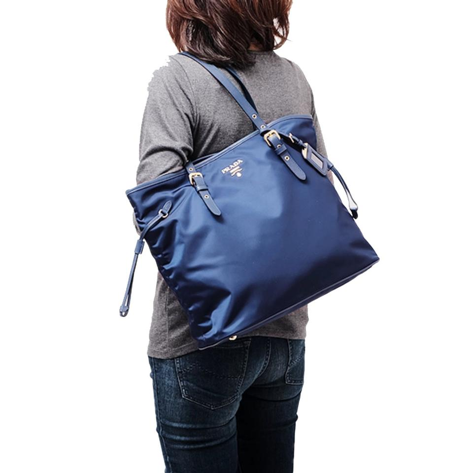 18176770dbb1 Prada Shopping Tessuto Saffiano Royal Nylon Handbag 1bg997 Blue Leather Tote  - Tradesy