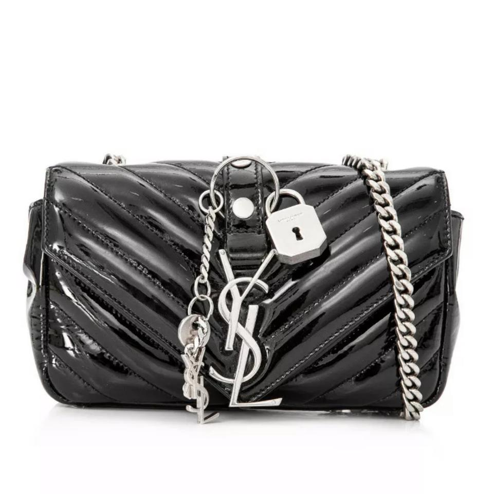 7ae29845b1 Saint Laurent Monogram Collège Baby Punk Monogram Black Patent Leather  Cross Body Bag