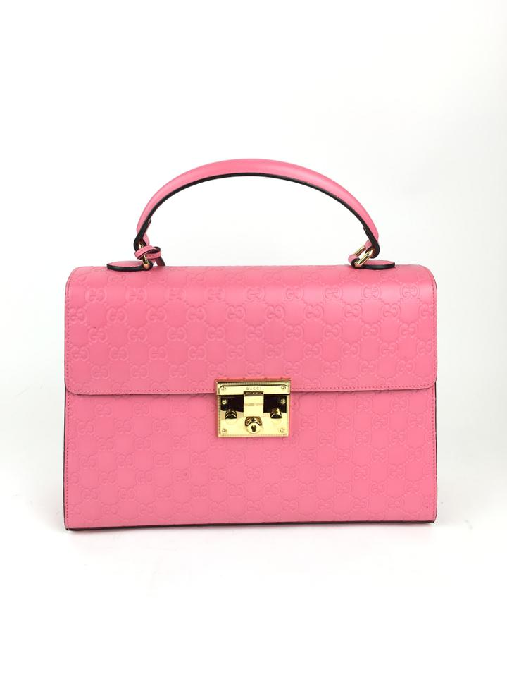 Gucci Padlock Signature Top Handle Pink Leather Shoulder Bag - Tradesy 7dbe8f13ef32a